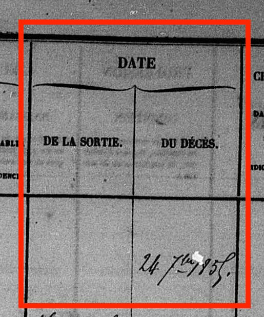 "Detail of page in population register that showx the ""date du décès"" of Jean-Baptiste Laurent (24 7bre 1855)."