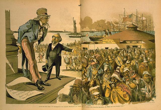 """Multicolored cartoon. It shows a flood of immigrants arriving to New York City while a disapproving Uncle Sam looks at them. A Supreme Court judge is imploring Uncle Sam to amend the constitution to restrict immigration. The immigrants have words such as """"Anarchist"""" and """"Socialist"""" written on their clothing."""