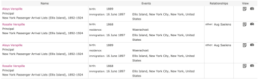 "Screenshot of search results for ""Verspille"" in FamilySearch. Illustrates that 4 results were found, two for each person."