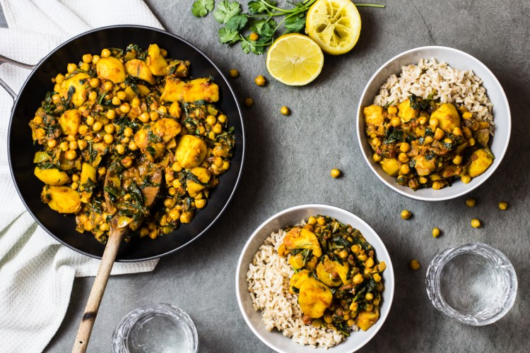 Potato, Chickpea and Spinach Curry