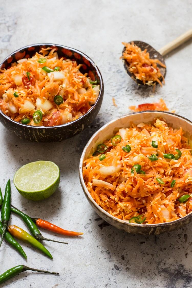 Sri Lankan Carrot Salad (Carrot Sambal)