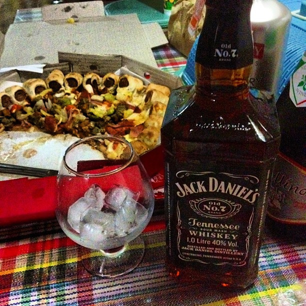 Pizza and whiskey