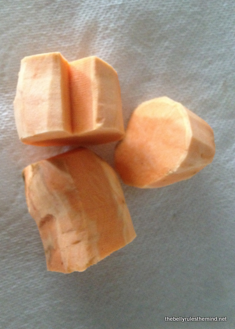 'V' shaped cut on Sweet Potato