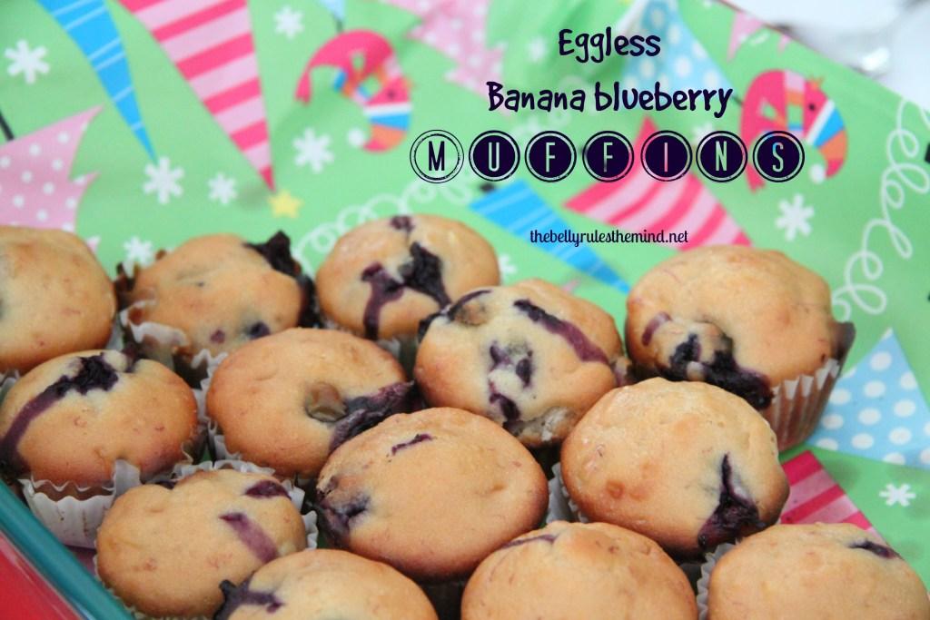 Eggless banana blueberry muffins