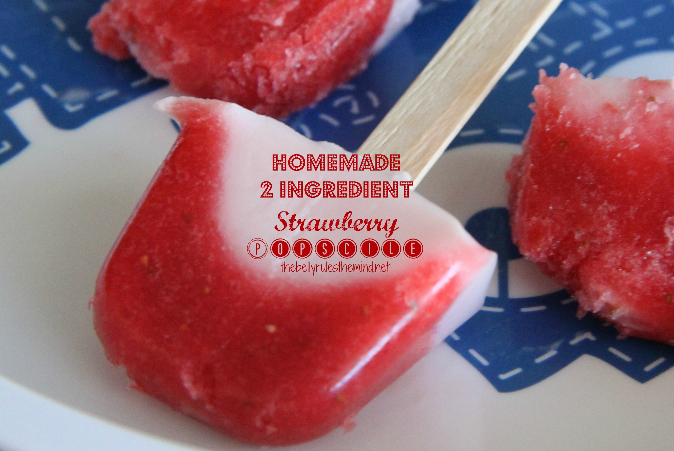 2 Ingredient Homemade Strawberry Popsicle
