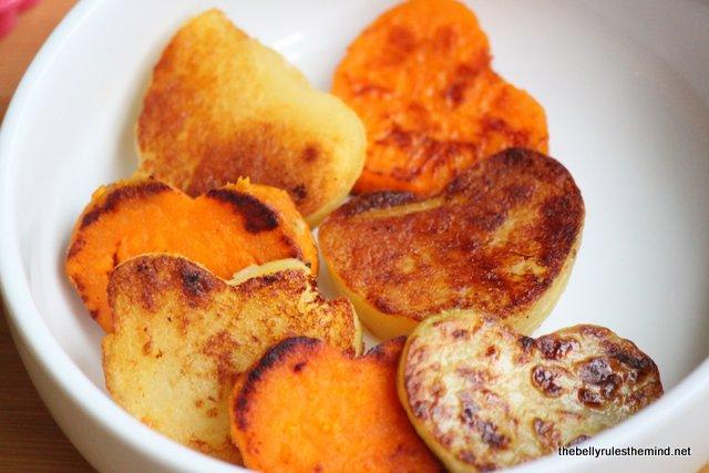 cooked potatoes and sweetpotatoes