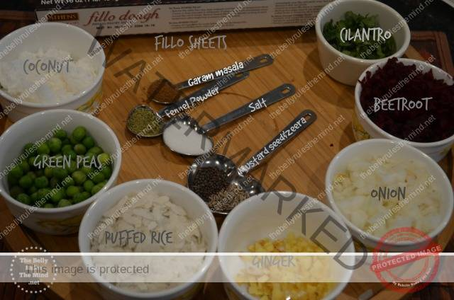 ingredients for baked beetroot samosa