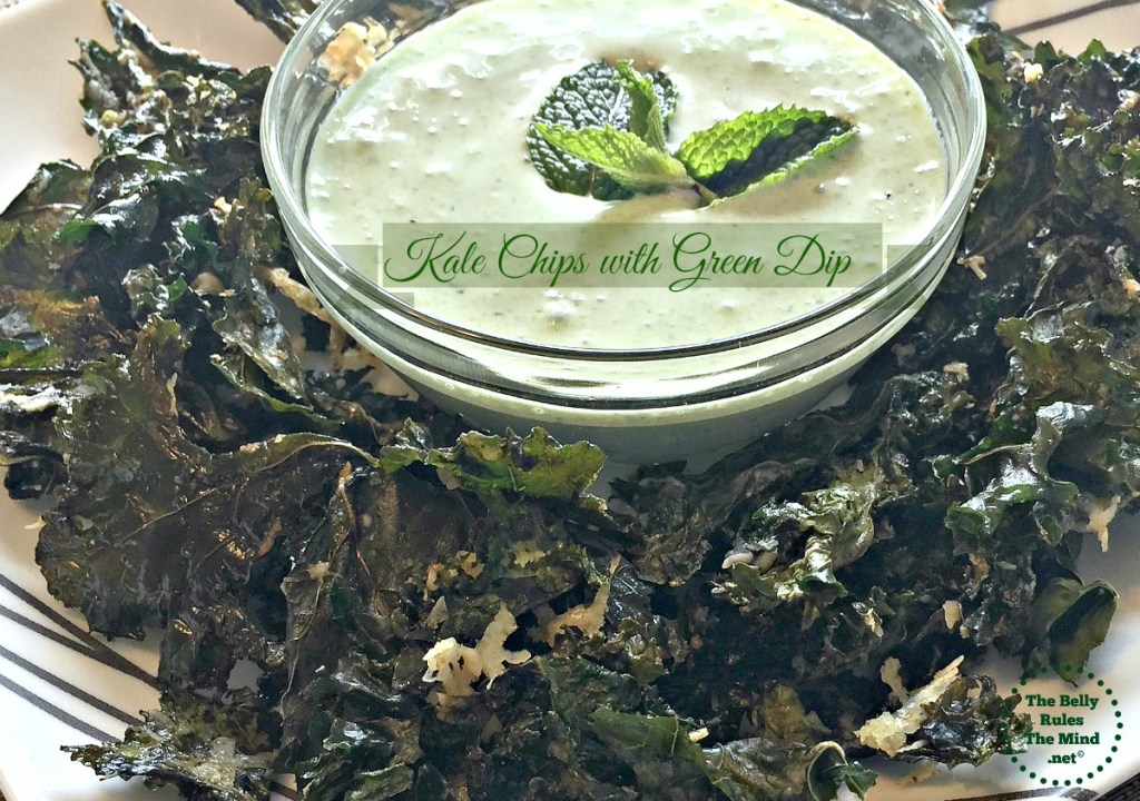 Kale chip with green dip