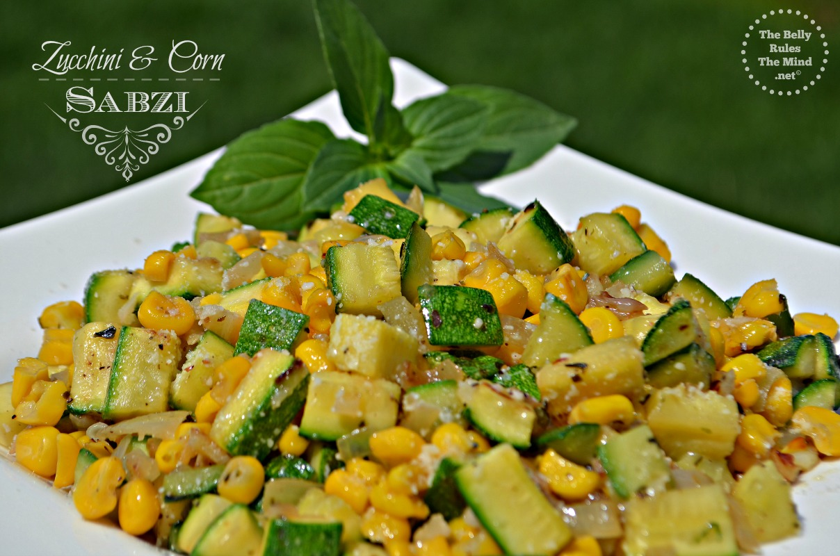 Zucchini and corn Sabzi