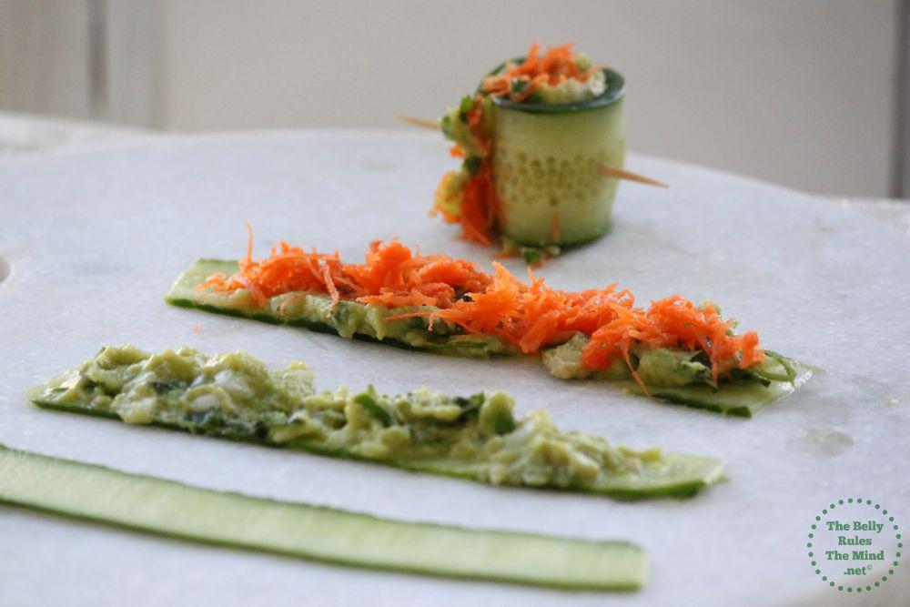 making cucumber rolls