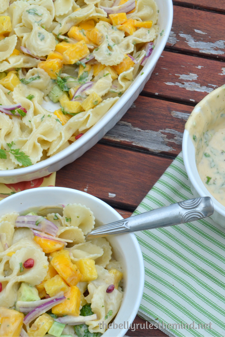 Tropical pasta salad with creamy vegan mayo