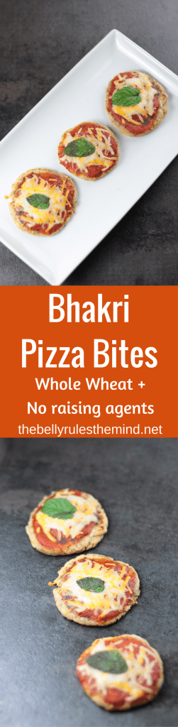 Pizza just got healthy with these delicious Bhakri Pizza Bites. Ditch the all purpose flour, these thin crust and crispy mini pizzas are made with whole wheat. The pizza base is Vegan, Eggfree & Dairy Free. | www.thebellyrulesthemind.net