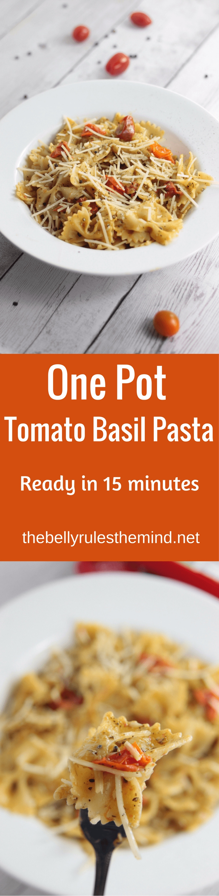 Easiest ever one pot tomato basil pasta , ready in just 15 minutes. Perfect for a quick weeknight dinner|www.thebellyrulesthemind.net @bellyrulesdmind