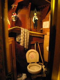 There are even puppets in the loo/head!