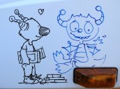 Michael's Gatto falls for a Hugglemonster (drawn by Norton)