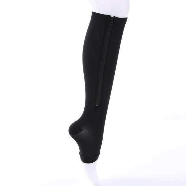 Meia de compressão com zíper na perna de uma mulher - The best acessórios