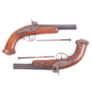 Pair of Antique French Percussion Pistols
