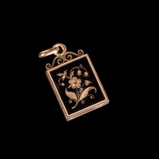 Russian imperial time gold pendant with enamel for pictures
