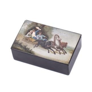 Antique Fedoskino Papier-Mache Lacquer Box