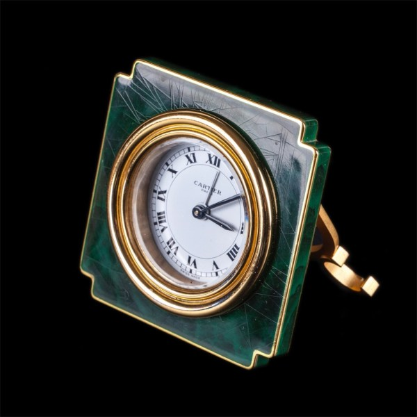 Authentic Cartier malachite desk clock with alarm in a chamois leather box