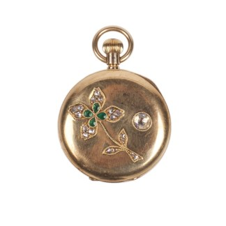 Gold Pocket Watch with Diamonds and Emerald Stone