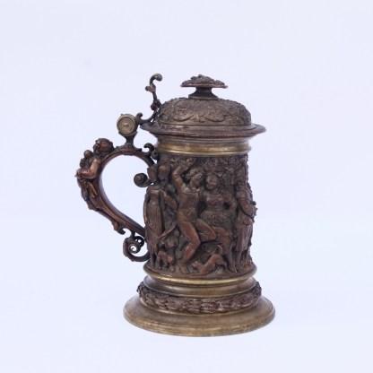 Sculptural Bronze Cup with Feast Scenes