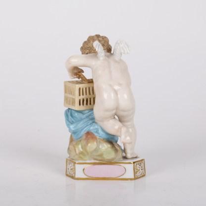 Antique MEISSEN Caged Captured Heart TE LE CAPTIVE Cupid Putti Figure