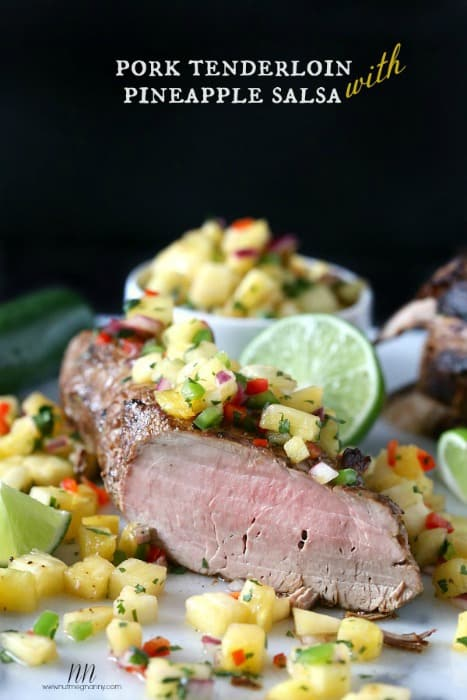 This pork tenderloin with pineapple salsa is the perfect weekend meal. Cook the tenderloin in the oven or on the grill, your choice!