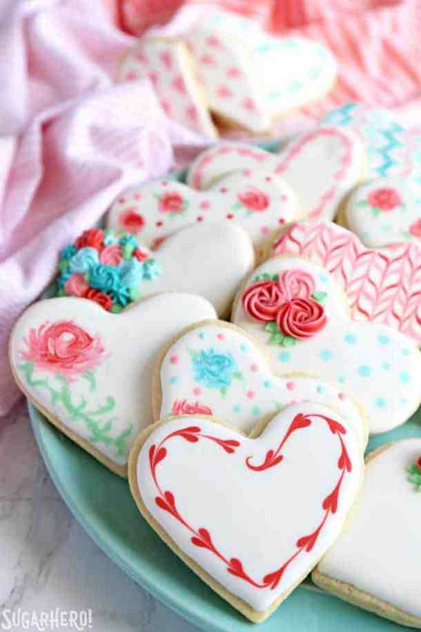 Valentine's Dau Sugar Cookies -- Part of the Best Valentine's Day Cookies