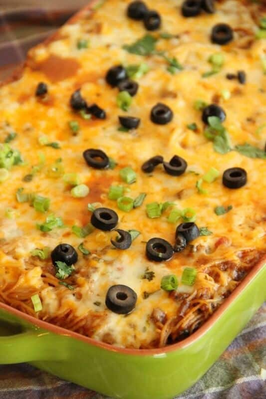 Taco Spaghetti Bake from Diary of a Recipe Collector | The Best Blog Recipes Casserole Recipe Round Up