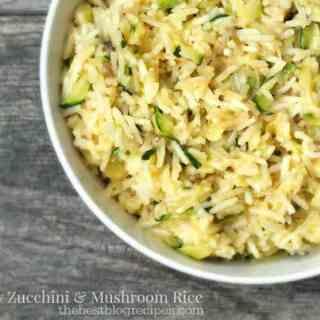 Cheesy Zucchini and Mushroom Rice