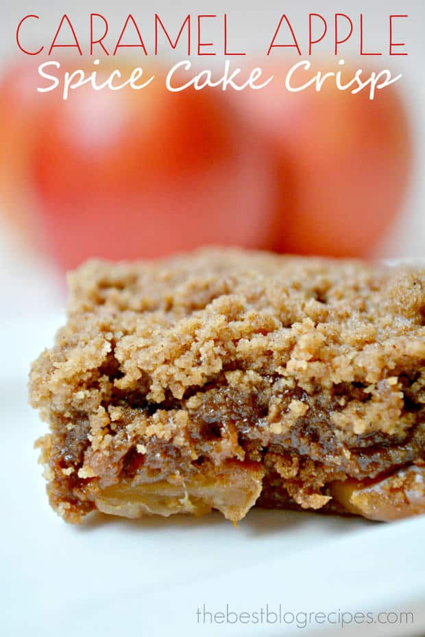 Caramel Apple Spice Cake Crisp is made in the slow cooker and is one of the easiest desserts you're ever going to make! | thebestblogrecipes.com | #dessert #recipe #apple #crisp