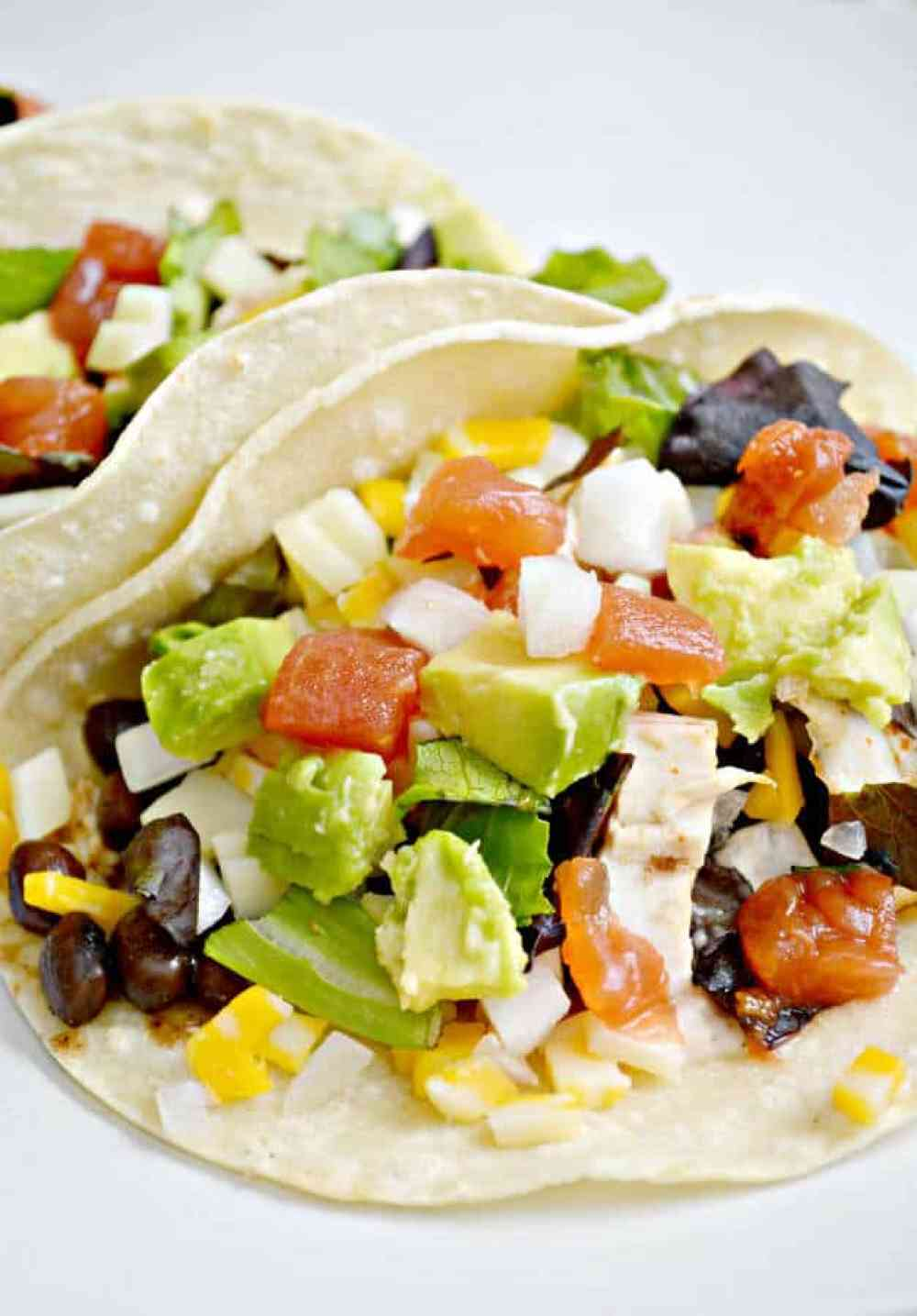 Spicy Kickin Chicken Street Tacos are ready in 25 minutes or less and they are so yummy and #glutenfree   thebestblogrecipes.com   #chicken #dinner #recipe #mexican