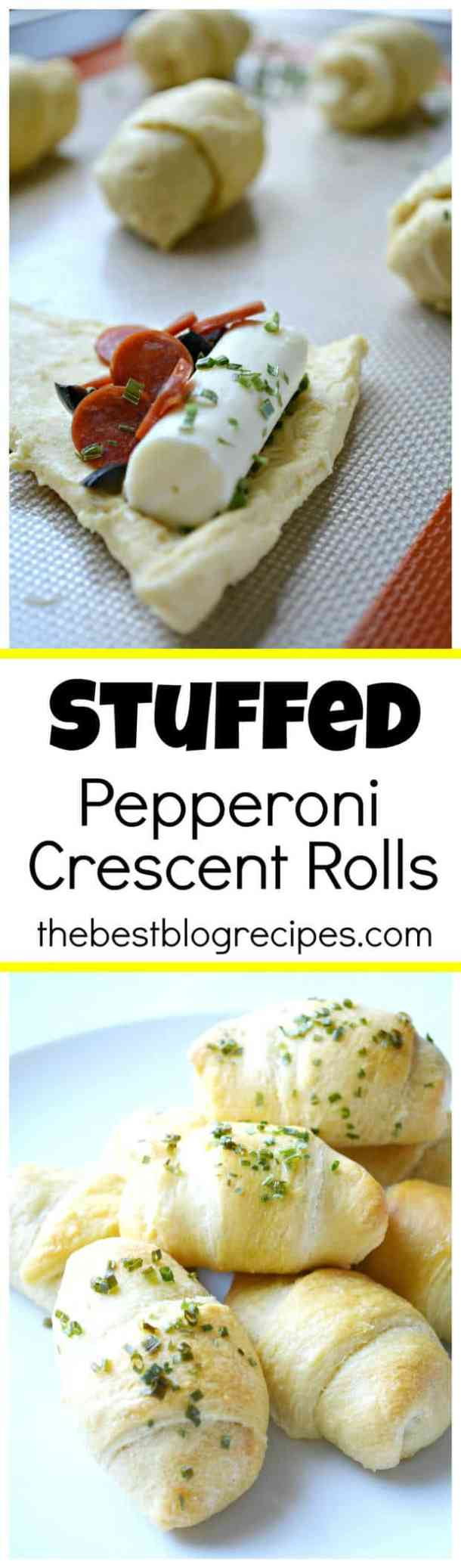 Stuffed Pepperoni Pizza Crescent Rolls -- part of The Most Delicious Appetizer Recipes