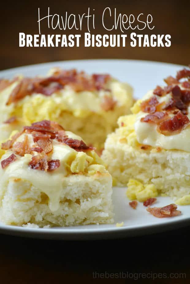 Havarti Cheese Breakfast Biscuit Stacks