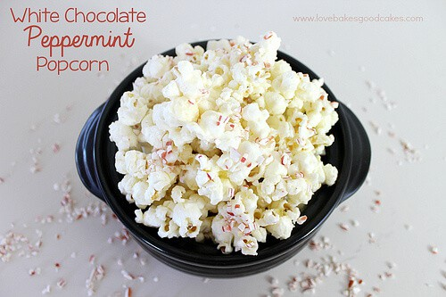 White Chocolate Peppermint Popcorn featured in 18 Peppermint Desserts on The Best Blog Recipes