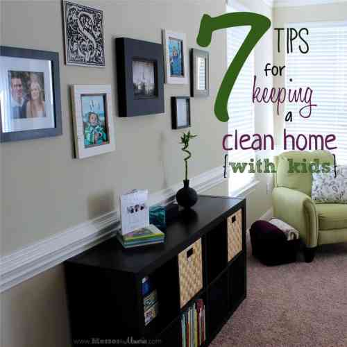 7 Tips for Keeping a Clean Home with Kids featured on Organization and Cleaning Tips from The Best Blog Recipes