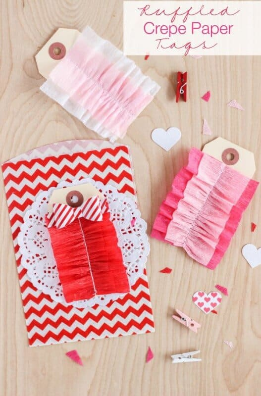 Ruffled Crepe Paper Tags featured on 25 Valentine's Day Crafts from The Best Blog Recipes