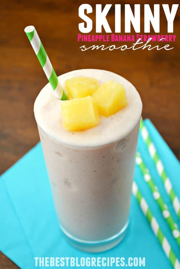 Skinny Pineapple Banana Strawberry Smoothie