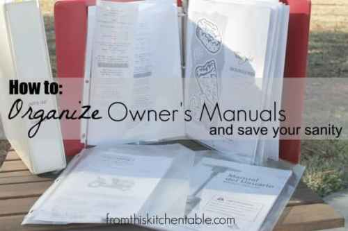 Organizing Owner's Manual featured on Organization and Cleaning Tips from The Best Blog Recipes