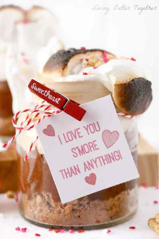 Brownie S'mores in a Jar featured on 30 Valentine's Day Recipes from The Best Blog Recipes