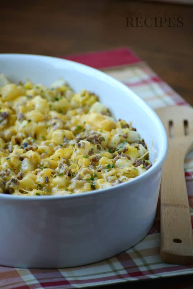 Easy Cheesy Sausage and Potato Breakfast Casserole Recipe from The Best Blog Recipes