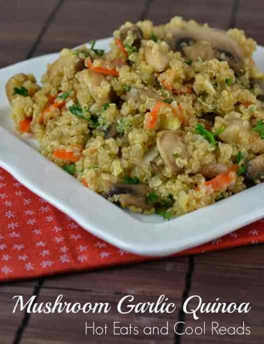 Mushroom Garlic Quinoa featured on 45 Healthier Recipes from The Best Blog Recipes