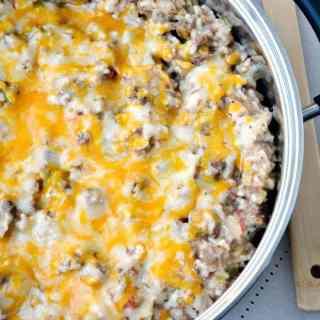 Easy Beef and Cheese Portobello Mushroom Rice Skillet