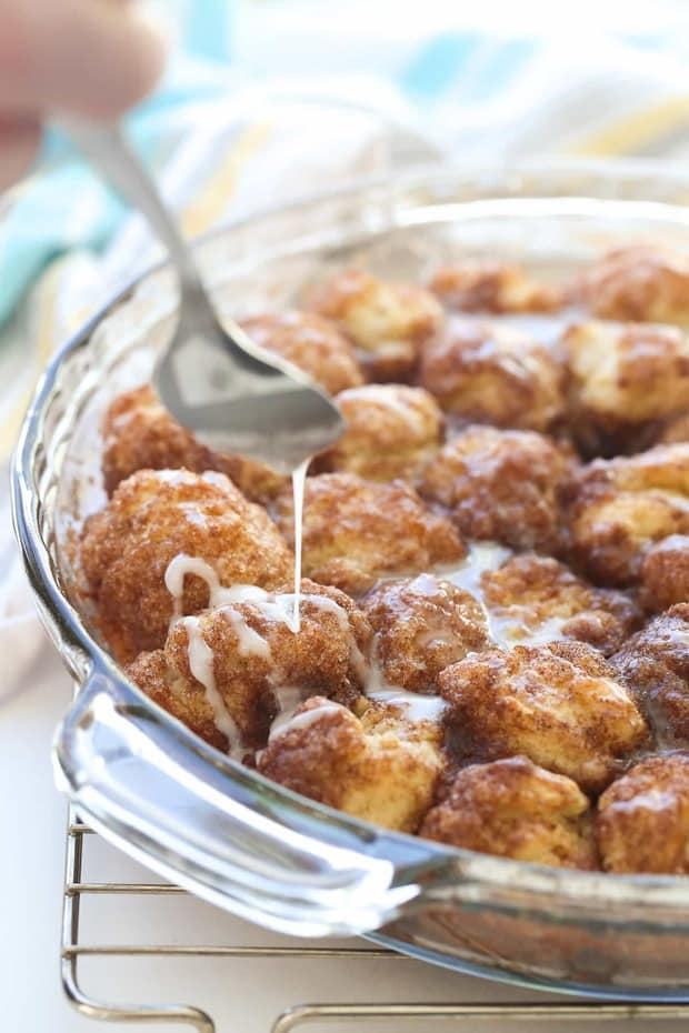 Cinnamon Roll Bites are the easiest way to cinnamon roll flavor! Uses homemade or store bought biscuit dough, a great make ahead breakfast or dessert!
