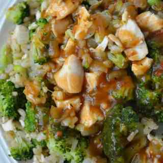 Rotisserie Chicken with Broccoli, Brown Rice and Sweet Onion Gravy