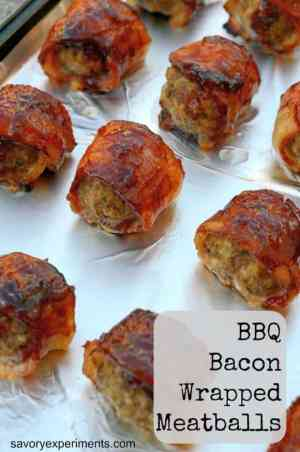 There is nothing better than meatballs bubbling in BBQ sauce or bacon, so why not bind the two together? Don't miss these BBQ Bacon Wrapped Meatballs! | Featured on The Best Blog Recipes