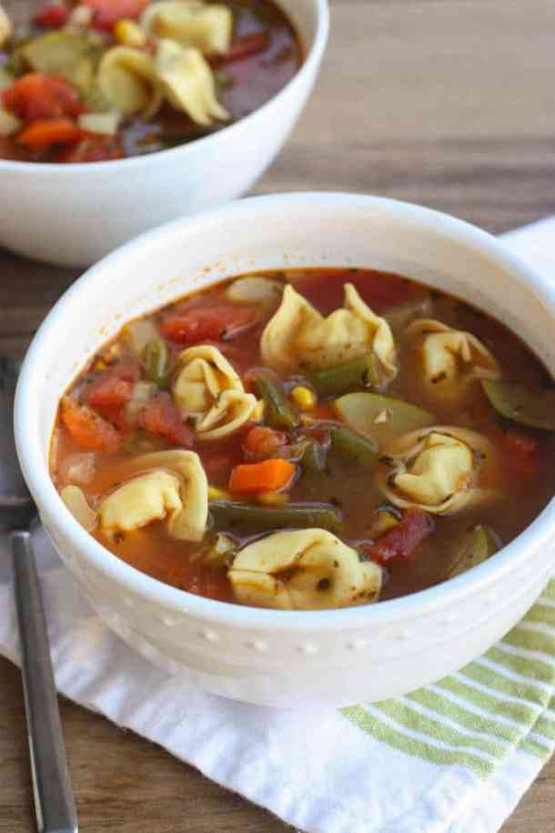 VEGETABLE TORTELLINI SOUP | Featured on www.thebestblogrecipes.com | This is a versatile recipe that you can play around with depending on what veggies you have stocked in your fridge and freezer!