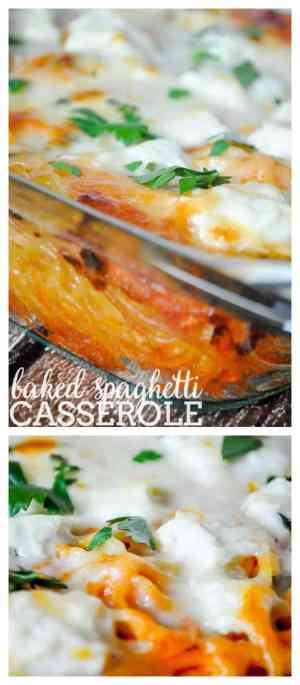 BAKED SPAGHETTI CASSEROLE -- Once the noodles are cooked you put them + the rest of the ingredients in the casserole dish and voila -- bake and done!   Featured on www.thebestblogrecipes.com