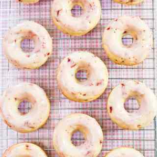 Chocolate Strawberry Glazed Baked Doughnuts